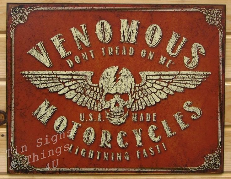 Venomous Motorcycle DTOM TIN SIGN Metal Poster Bike Garage Bar Wall Decor  1874