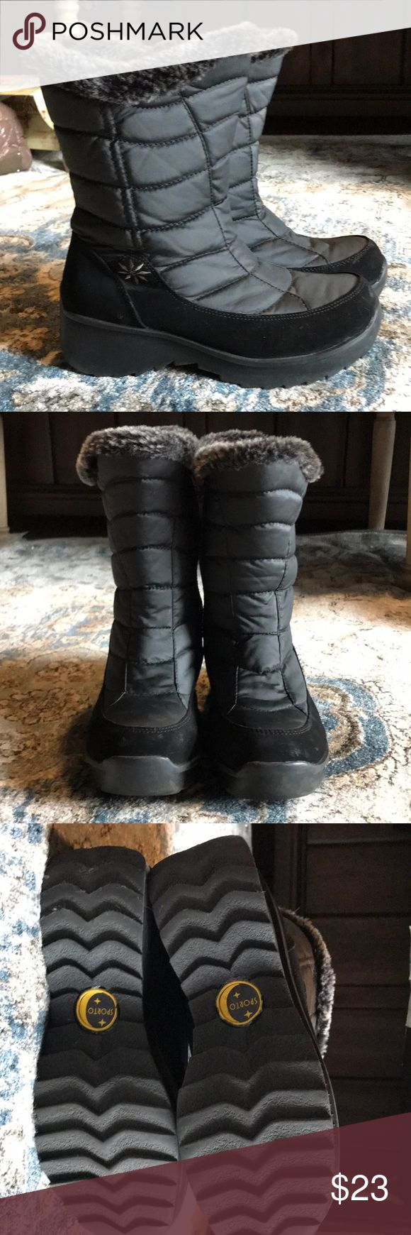 Sporto boots women's 7.5 Derby Winter ankle rain boots in excellent condition. Inside soles have material that shifted. Suede, nylon, faux fur. Size 7.5. Super cute boot. On narrow side. Sporto Shoes Ankle Boots & Booties