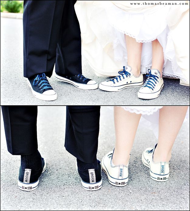 Get custom sneakers for your big day! | 28 Creative And Meaningful Ways To Add A Personal Touch To Your Wedding