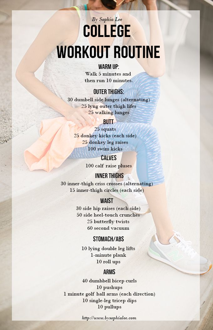 I followed this workout routine and I have never been more tone in my life. Definitely recommend if you're trying to avoid that Freshman 15!