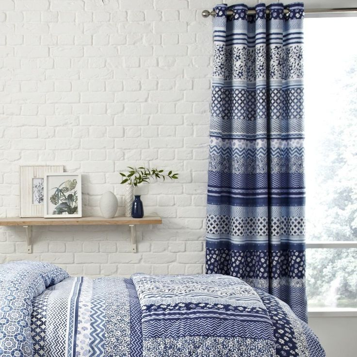 SANTORINI BLUE STRIPED RING TOP FULLY LINED PAIR EYELET READY MADE CURTAINS    eBay
