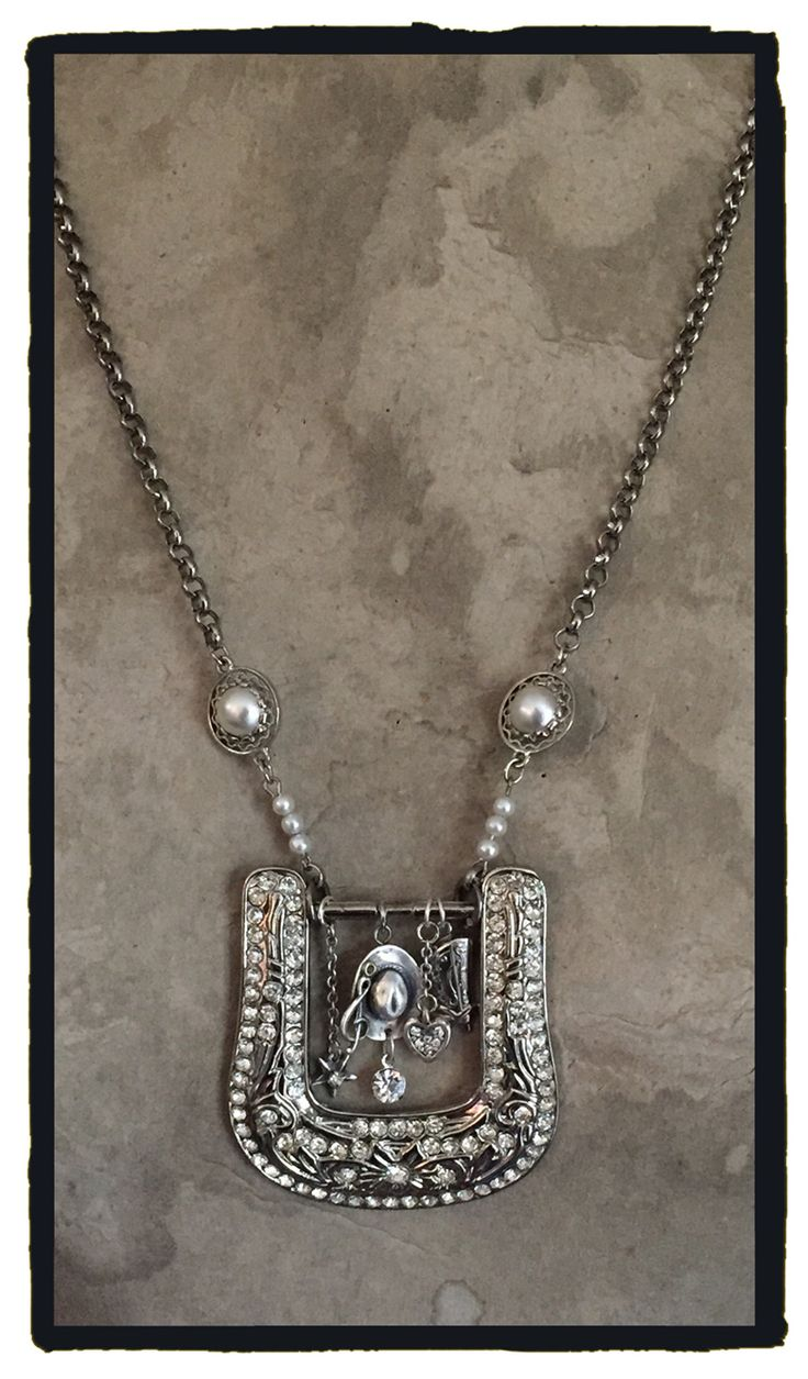 Belt buckle Cowgirl Bling! Rhinestones and charms make this necklace a statement piece.  #uncorkedjunkmarketstyle By LjBlock Designs
