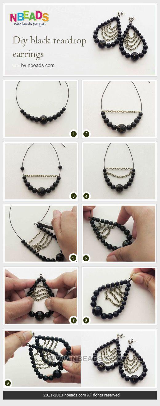 DIY sorte dråbeformet Øreringe