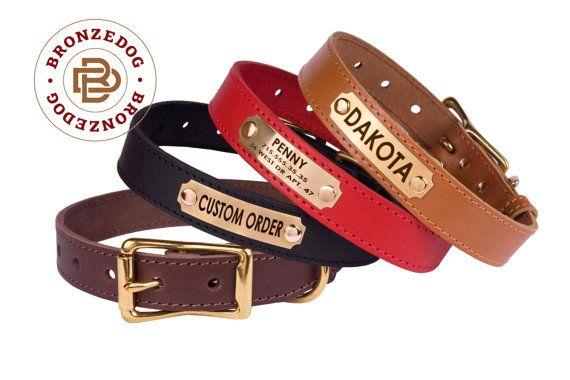 Hundehalsband Leder personalisierte Messing Schnalle von BronzeDog