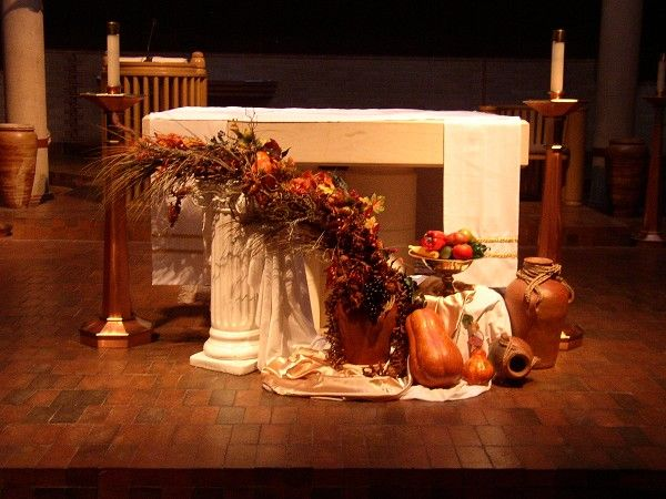 Thanksgiving church decorations | The Sanctuary decorated for the Thanksgiving Mass