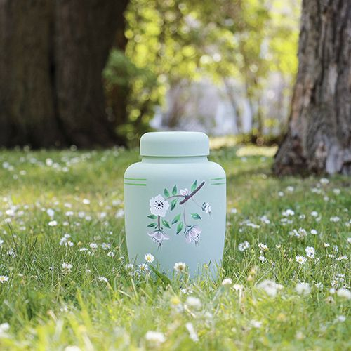 Handpainted Biodegradable Urn in Green Floral | Eco Earth Burial Urns are a natural way to bury your loved one.