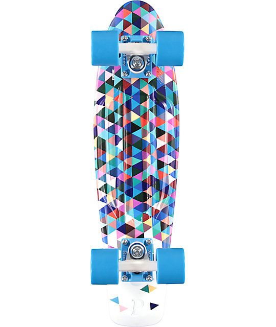 $120: Ride in style with a multicolor triangle print plastic injection molded deck bottom and solid blue molded waffle pattern top with a small kicktail for turning control.