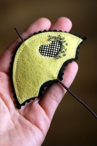 Lime Umbrella Brooch by madebyagah on Etsy