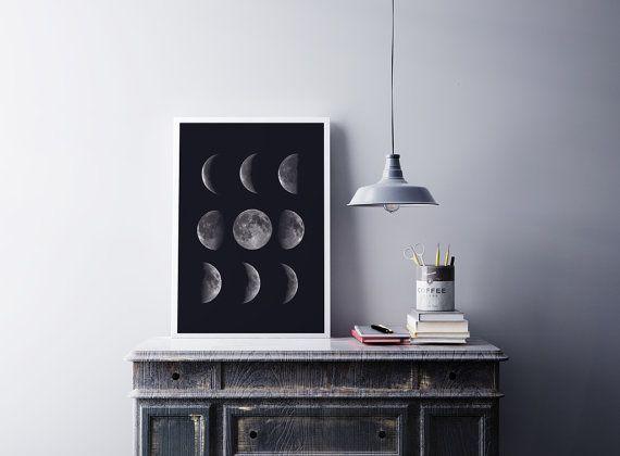 Mond Phasen Print, Mond Phasen Poster, Mondphasen, Home Decor, Mond Phasen Kunst, Astrologie Print, Moon Poster, Science Art schwarz / weiß