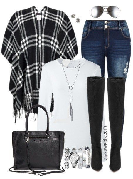Plus Size Plaid Wrap Outfit - Plus Size Fashion for Women - alexawebb.com #alexawebb