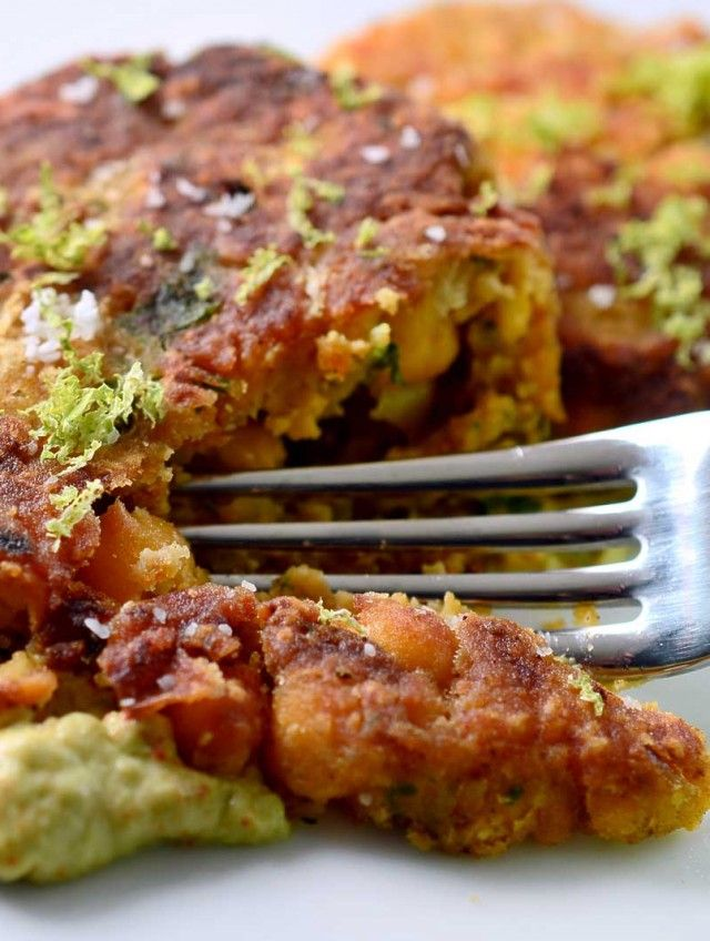 Savory chickpea cakes pan fried until golden and served with chipotle avocado cream sauce.