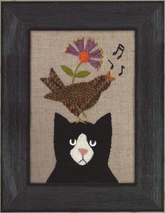 Primitive Folk Art Wool Applique Pattern: SONG by PrimFolkArtShop
