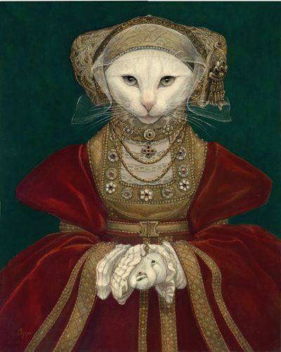 "Melinda Copper  ~  ""Mouse of Cleaves""  ~ (original painting, Anne of Cleves by Hans Holbein the Younger)"