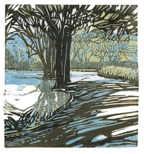 Sherrie York's reduction linocut - from her etsy shop Rio Salida Art