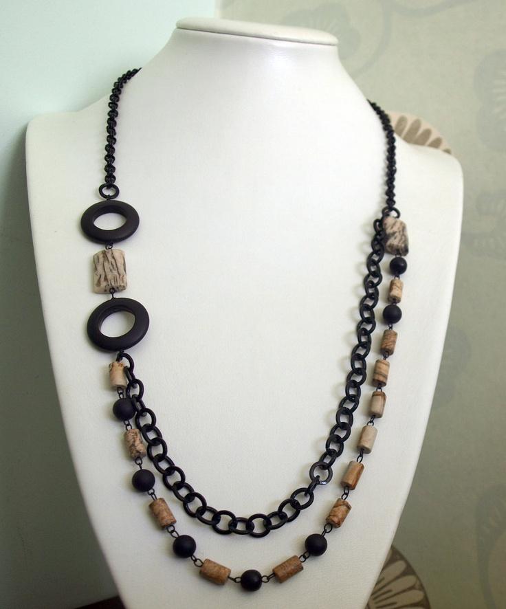 Multi Strand Necklace with Zebra Jasper & Black Onyx-Statement Necklace