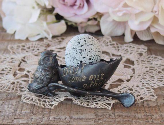 Antique Victorian Bird Metal Egg Cup Quail Egg Holder Engraved