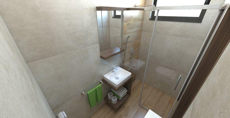 Návrh a vizualizácia malej kúpeľne s veľkoformátovým obkladom 75x75 cm. Paradyz Scratch
