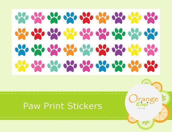 Paw Print Stickers  Planner Stickers  Rainbow by OrangeKiwiDesign