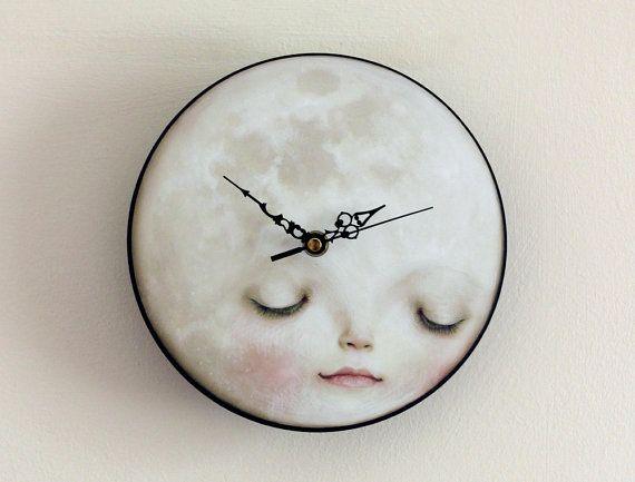 Full Moon Clock - Sleeping moon wall clock, children's decor, kids decor, kids wall art,  little boy kids clock  -  Lisa Falzon