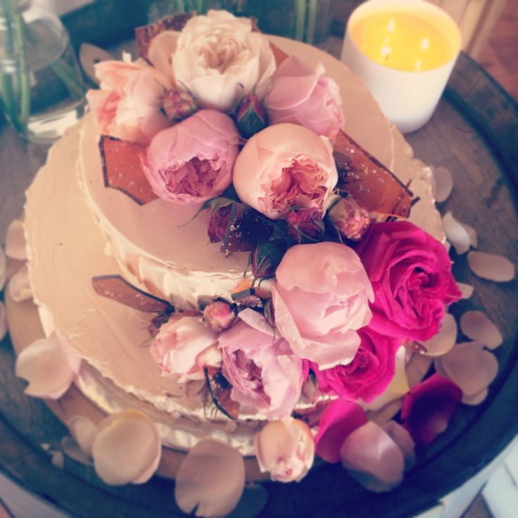 Wedding cake decorated with peonies and salted caramel chards by Creative Hunger