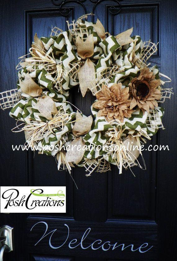 Fall Wreath Fall Burlap Wreath Chevron Burlap by poshcreationsKY, $75.00