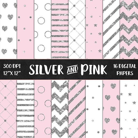 Silver and Pink Digital Paper Silver Glitter Pink Paper