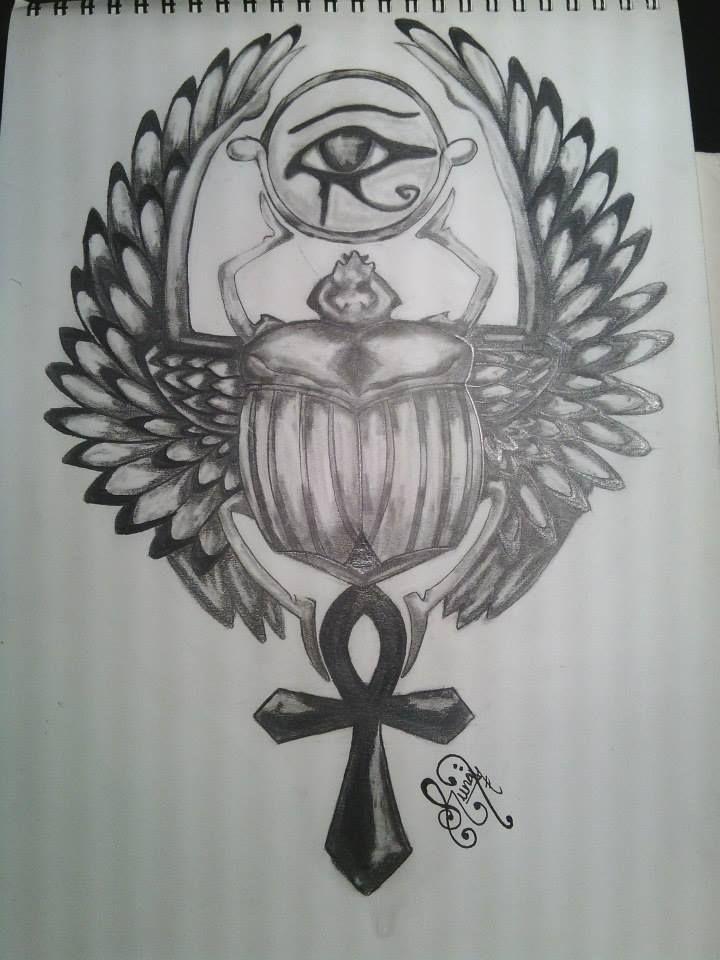 Ank, Ankh o Anj la llave de la vida o cruz ansada. El ojo de Horus o Udyat protección, símbolo solar que encarnaba el orden, lo imperturbable, el estado perfecto. El escarabajo alado, sagrado, símbolo del sol naciente, la resurrección.   Diseño propio para mi mas reciente tatuaje.