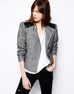 Selected Flick Collarless Blazer with Faux Leather Detail