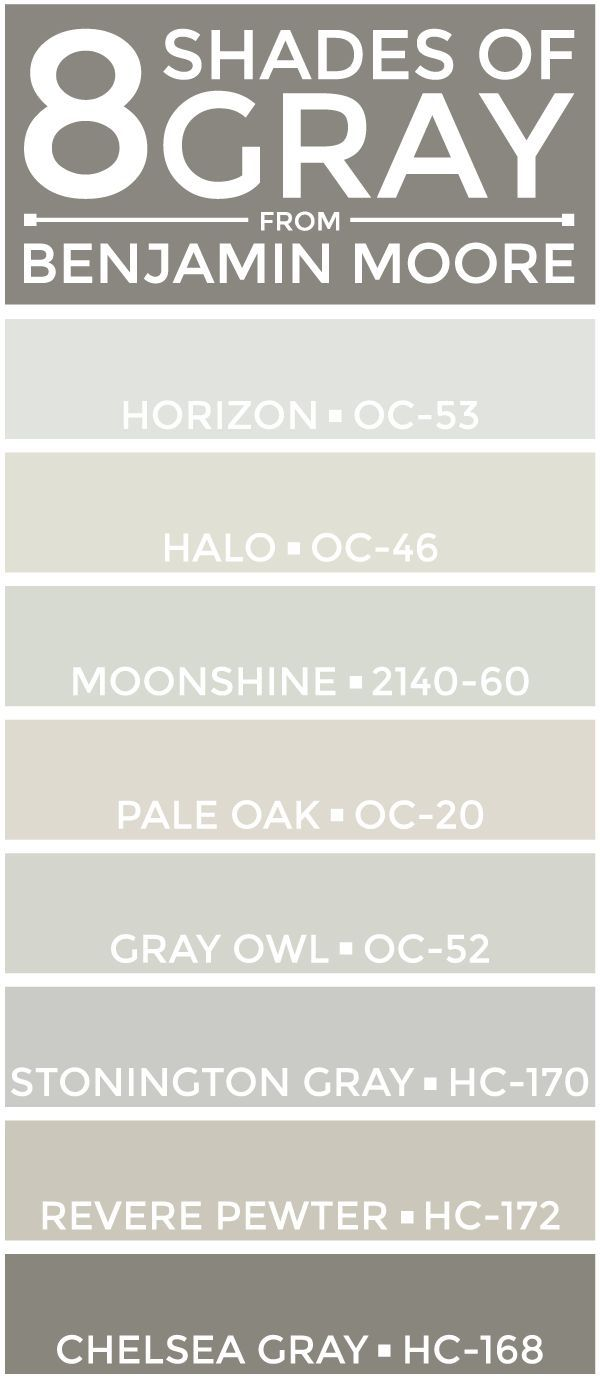 eight great shades of gray from Benjamin Moore -- perfect for a neutral color palette.