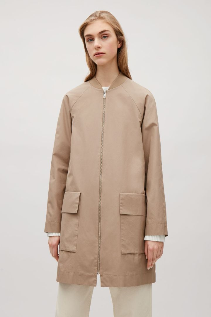 COS image 7 of Coat with ribbed neckline in Beige