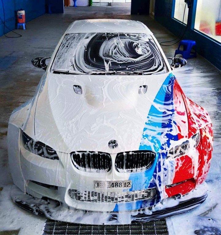 Bmw E92 M3 White M Stripe Carwash Bmw Motors Super Cars Bmw