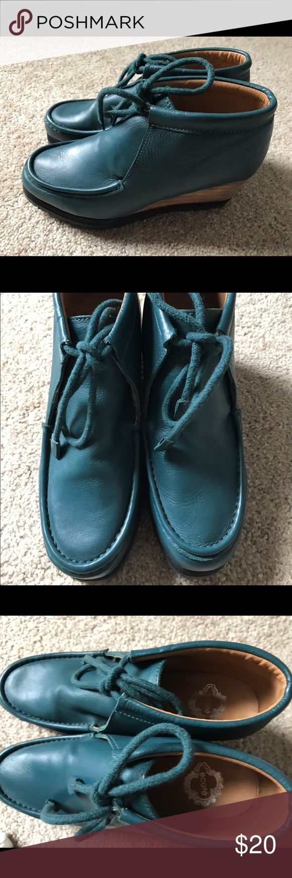 UO Ecote Teal Wedge Leather Ankle Bootie Brand new, never worn, Ecote brand teal leather bootie wedges from Urban Outfitters, size 7.5, moccasin/chukka style lacing, originally bought for $70. Ship from a clean smoke free home and feel free to message me with any questions Ecote Shoes Ankle Boots & Booties