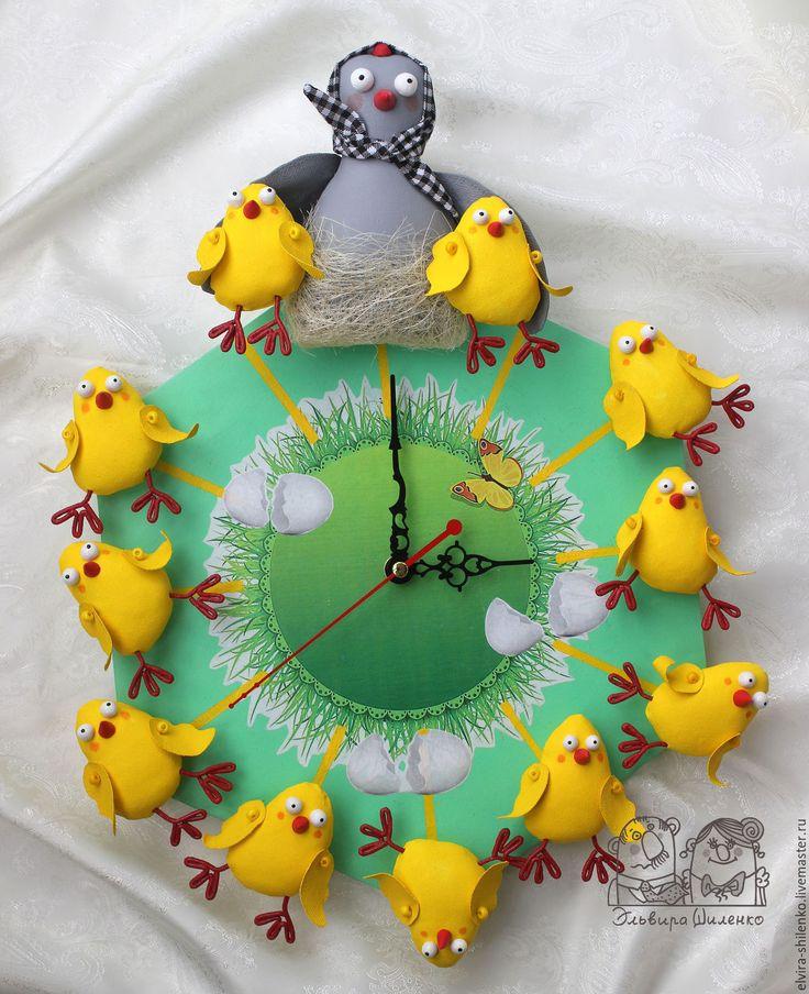 """Купить Настенные часы """"Курочка-наседка с цыплятами"""". - желтый, пасха 2016, курочка пасхальная, цыплята"""