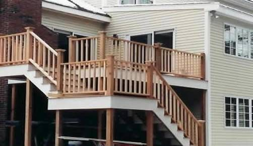 Two level Mahogany deck with cedar firr railings and pine trim    http://www.mbmcarpentry.com/services/decks-and-porches/