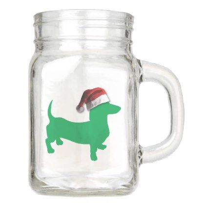 #Light Green Dachshund with a Santa Claus Hat Mason Jar - #Xmas #ChristmasEve Christmas Eve #Christmas #merry #xmas #family #holy #kids #gifts #holidays #Santa