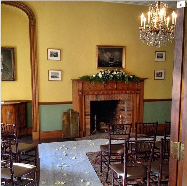 Chairs and an aisle set for a small wedding in the Withdrawing Room.
