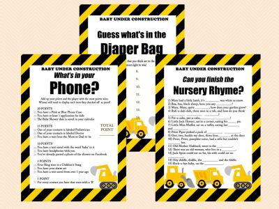 construction baby shower game printables