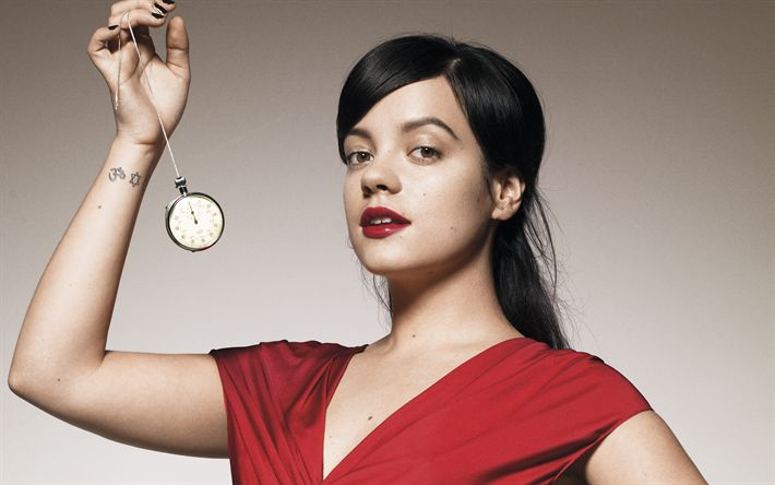 Download wallpapers Lily Allen, 4k, British singer, red dress, make-up, beautiful woman, portrait, woman with clock, Lily Rose Beatrice Cooper