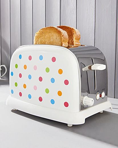 A classic yet contemporary Rainbow Spot stainless steel toaster with colour dots reflective of the latest trend palettes to add a splash of style to any kitchen!