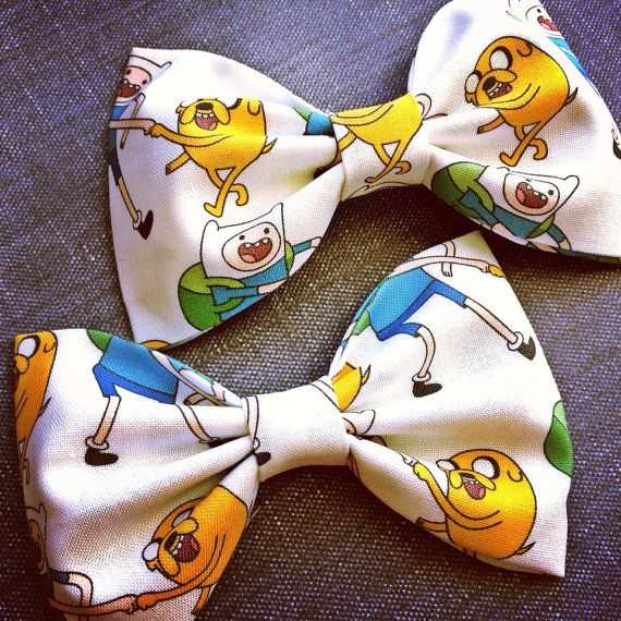 Adventure time Jake and Finn print handmade fabric bow tie or hair bow on Etsy, £3.68