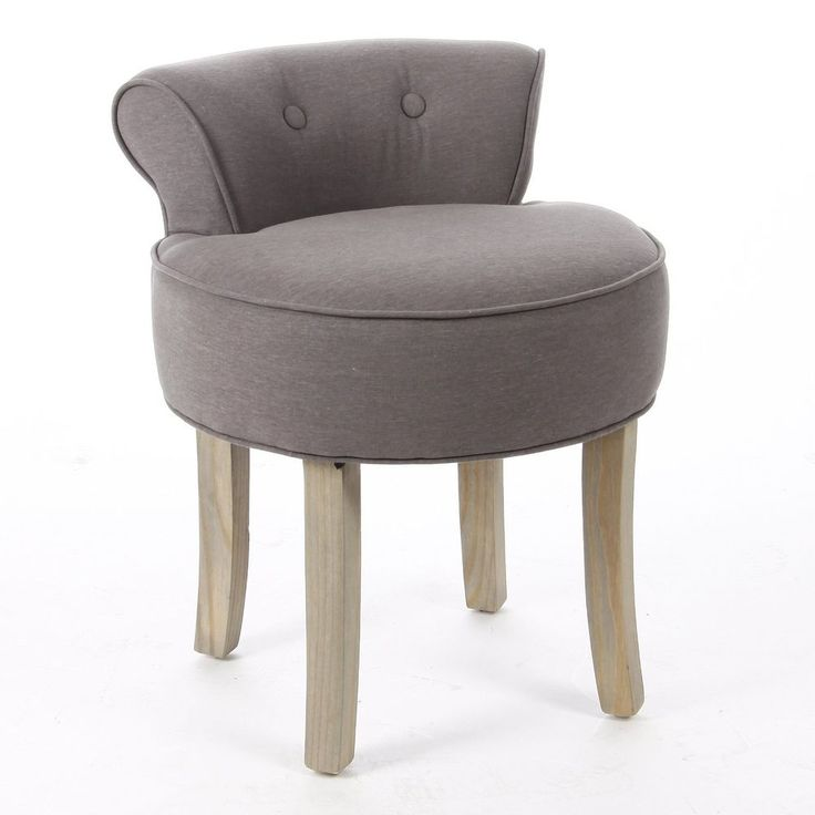 Grey taupe dressing table vanity stool padded seat chair for Bedroom table chairs