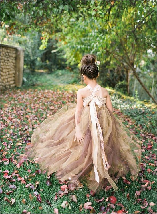 20 Fall Flower Girl Outfits That Are Just Too Cute: #15. Beige and brown tutu dress for a fall flower girl