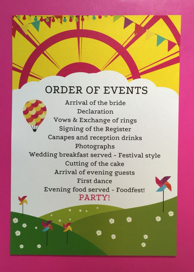 Order of events - a great alternative to the traditional order of service / ceremony.