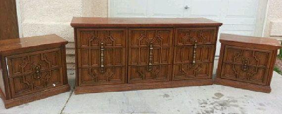 Bassett 70s Carved dresser hollywood regency painted in semi