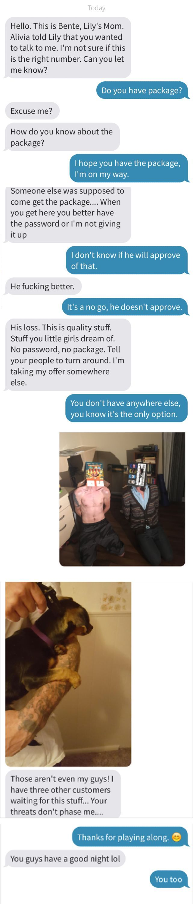 Wrong number text message… escalated quickly http://ibeebz.com