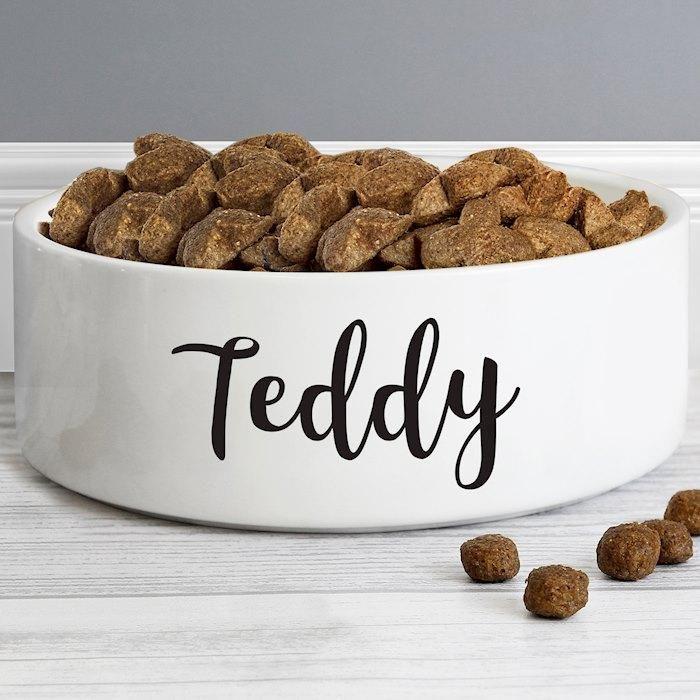 Personalised Any Name 14cm Medium White Pet Bowl Pet Bowls Dog Bowls Pets