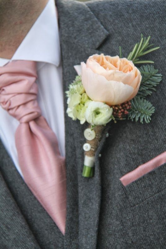 Delightful Juliet Rose Boutonniere With Button Detail