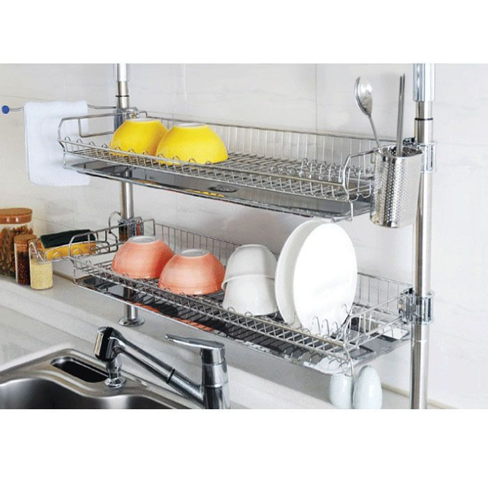 Stainless Fixing Dish Drying Rack Double Shelf Sink Kitchen Organizer Free Moving Band