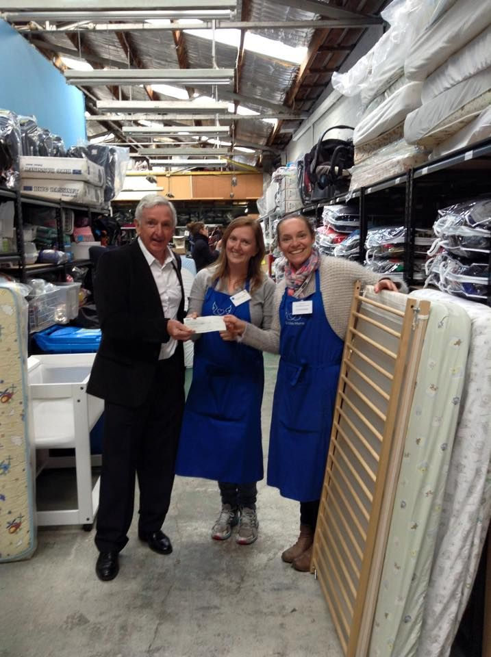 Amanda and Helen absolutely stoked to be receiving a cheque from Bentleigh Moorabbin Central Rotary Club for 30 cots. Presented by Peter O'Brian.....whoop whoop. Thanks Rotary #cotsfortots