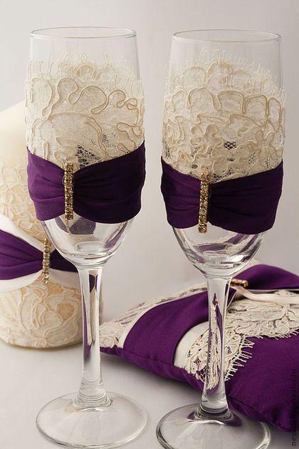 Купить Свадебные бокалы с кружевом - тёмно-фиолетовый, свадьба, свадебные аксессуары, свадебные бокалы, кружево